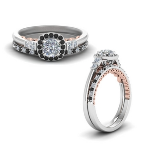 Cushion Cut Delicate Moissanite Ring Set