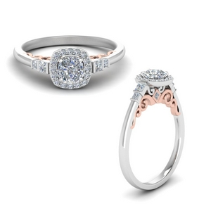 Delicate 2 Tone Halo Ring