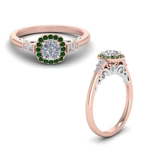 cushion cut delicate emerald halo diamond engagement ring in FD9011CURGEMGRANGLE1 NL RG.jpg