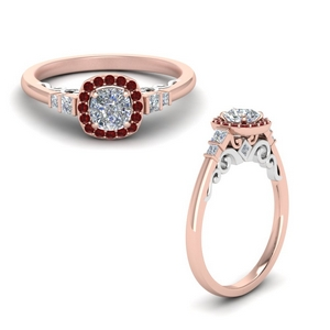 Cushion Cut Ruby Vintage Rings