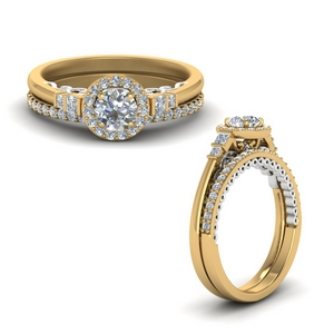 2 Tone Delicate Halo Ring Set