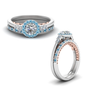 2 Tone Halo Wedding Set