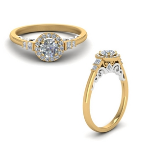 Delicate Halo Diamond Gold Ring