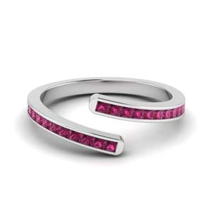 Pink Sapphire Bypass Anniversary Band