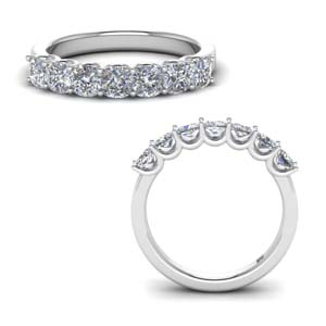 7 Stone Diamond Band 14K White Gold