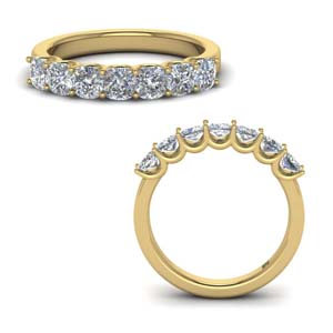 14K Yellow Gold Cushion Diamond Band