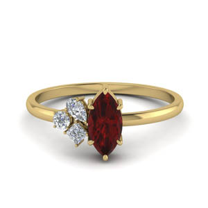 petite non traditional diamond wedding ring with ruby in FD9029MQGRUDR NL YG