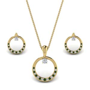 Gold Emerald Pave Earring And Pendant