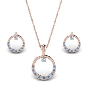 Glossy Circle Round Earring And Pendant