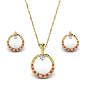 Orange Topaz Circle Earring And Pendant Set