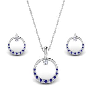 Sapphire Circle Earring And Pendant Set