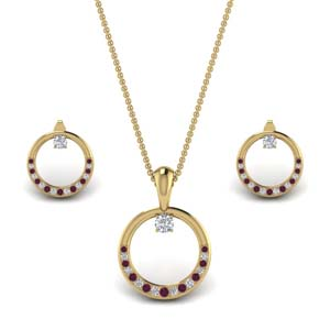 Gold Round Circle Matching Set