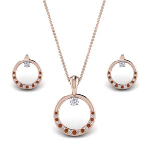 Open Round Pendant And Earring Set
