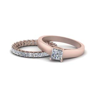 14K Rose Gold Solitaire Ring With Eternity Band