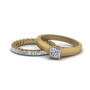 14K Yellow Gold Princess Cut Bridal Set