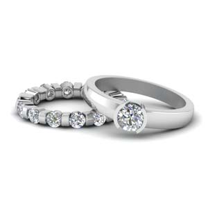 14K White Gold Round Diamond Bridal Set