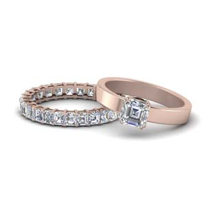 Asscher Cut Moissanite Wedding Ring Sets