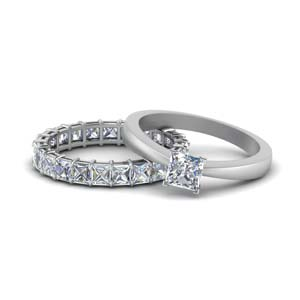18K White Gold Tapered Solitaire Diamond Ring Set