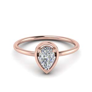 Solitaire Pear Cut Engagement Rings