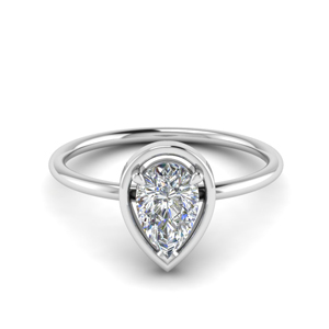 Simple Pear Diamond Solitaire Ring