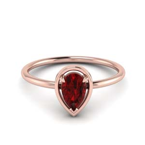 Accent Ruby Pear Solitaire Ring
