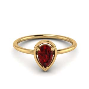Ruby Pear Solitaire Ring