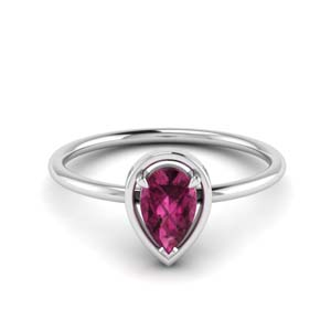 Pink Sapphire Pear Delicate Ring