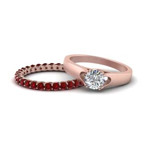 Ruby Trellis Band With Solitaire Ring