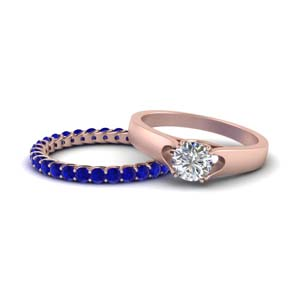 Sapphire Band With Solitaire Ring