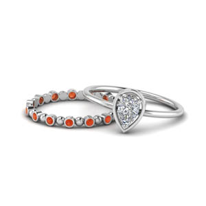 Classic Orange Topaz Wedding Set