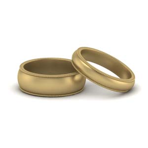 14K Yellow Gold Matching Rings For Couples