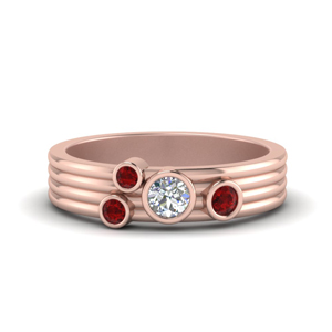Four Stone Asymmetrical Band With Ruby