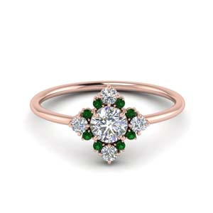 14K Rose Gold Emerald Cluster Ring