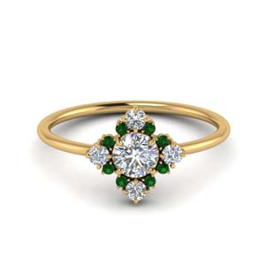 Art Deco Cluster Ring With Emerald