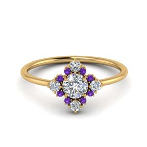 Cluster Diamond Ring With Purple Topaz
