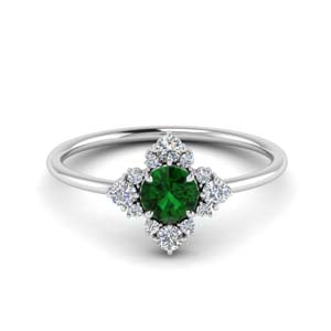 Modern Emerald Floral Ring