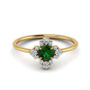 Floral Emerald Engagement Ring