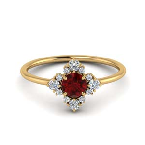 Unusual Ruby Ring With Diamonds