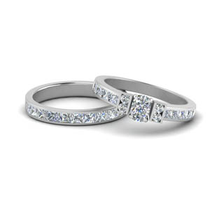 White Gold Cushion Cut Wedding Sets