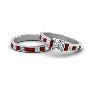 Platinum Ruby Ring Set