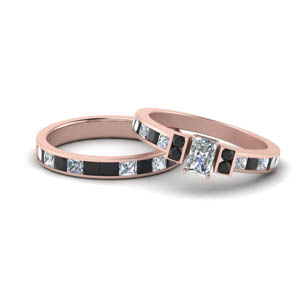 Rose Gold Black Diamond Wedding Set