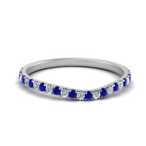 u prong diamond contour wedding band with sapphire in FD9109B1GSABL NL WG