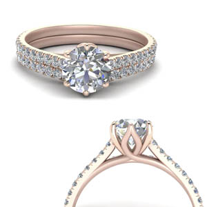 Flower Wedding Ring Set