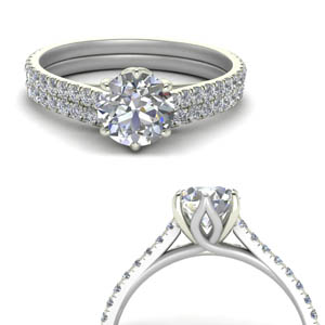6 claw prong flower basket diamond wedding set in FD9109B1ROANGLE3 NL WG.jpg