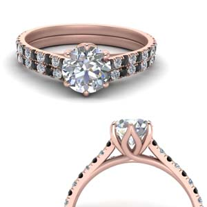 Flower Basket Wedding Ring Set