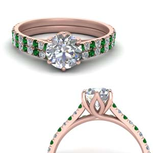 Emerald Flower Basket Ring Set