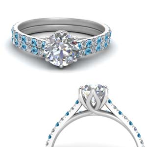 Platinum With Topaz Ring Set
