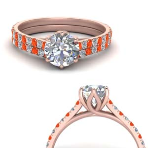 Orange Topaz Floral Ring Set