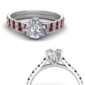 Ruby With French Prong Wedding Set
