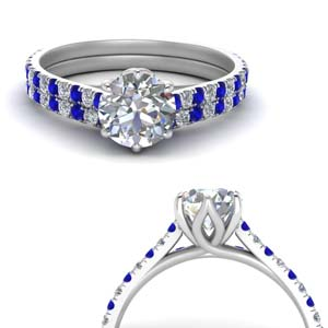 Round Diamond Sapphire Wedding Set